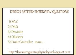Design Patterns Interview Questions For Experienced Java Learnprogramingbyluckysir Java Design Pattern Interview