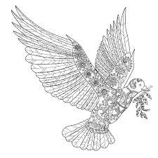Gratis Kleurplaat Vredesduif Kleiner Vogel Fliegt Ausmalbild