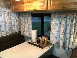 rv window curtains after redesign with fresh paint and new curtains custom rv windshield curtains rv window curtains