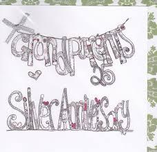 Grandparents Silver Wedding Anniversary Card Karenza Paperie