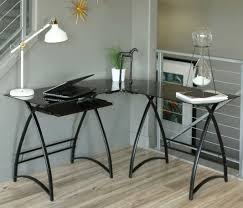 home office l shaped desk. L Shaped Desk Glass Top With Sliding Keyboard Tray Design Black Color Ideas Combined Home Office R