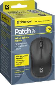 <b>Проводная мышь Defender Patch</b> MS-759 черный,3 кнопки,1000 ...