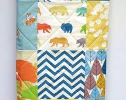 Mint Baby Quilt Birch Fabric Rustic Baby Boy Bedding Gray & Modern Baby Quilt-Organic Birch Fabric-Baby Crib Bedding-Chevron-Teal- Adamdwight.com