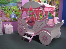 White and Pink Cinderella Carriage Bed