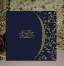 dark blue muslim wedding invitations card