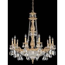schonbek milano french gold 14 light clear optic handcut crystal chandelier 30w x 36h x 30d