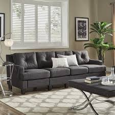 Elston Dark Grey Linen Extra Long Sofas by iNSPIRE Q Modern - Free Shipping  Today - Overstock.com - 25576217