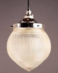 french cut glass holophane pineapple pendant ceiling light vintage retro lighting
