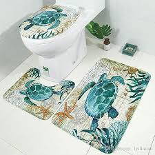 2019 bath mat set bathroom rug mats set non slip sea turtles seat cover and set mat for toilet washable bath rug set from lydiacan 15 67 dhgate com