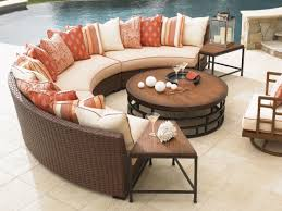 furniture captivating modern outdoor furniture with half round rattan sofa and round wood coffee table