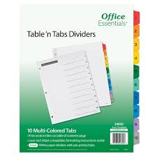 Avery 24840 Office Essentials 10 Tab White Multi Color Table N Tabs Divider Set 6 Pack