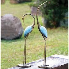 garden cranes sculptures metal yard