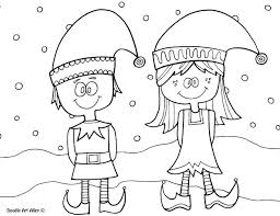 Christmas Elf Coloring Pages Free Elves Printable Jafevopusitop
