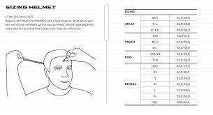 Child Ski Helmet Size Chart Sizing Charts