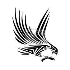 Fototapeta Orel Tetování Zvíře Nakreslit Abstraktní Ikonu Plochý A Izolovaná