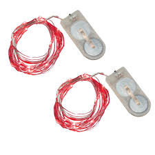 Mini String Lights Battery Operated 40 Light Mini Battery Operated Waterproof String Lights In Red 2 Count