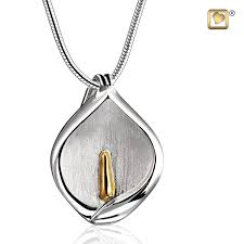 sterling silver pendant calla lily gold vermeil two tone jewelry for ashes