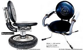 Furniture created by Harley Davidson parts