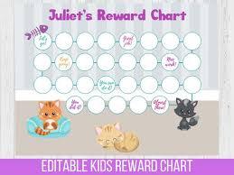 Reward Chart Pet Cat Editable Potty Chart In 2019 Reward
