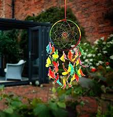 ILU Dream Catcher <b>Wall Hanging Handmade</b> Beaded Circular Net ...