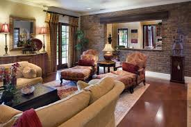 elegant living room with brick accent wall design