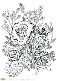 Rose Coloring Pages For Adults Roses And Hearts Heart Free Printable