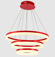 led 3 rings acrylic chandelier red