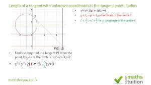 circles tangent with coordinates missing radius igcse gcse additional maths exam question
