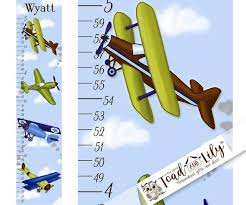 Canvas Growth Chart Aviator Planes Airplane Personalized Growth Chart For Kids Children Height Chart Ruler Chart Boys Gc0003