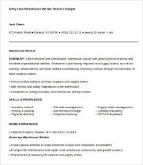 Warehouse Resume Examples Best Warehouse Worker Resume 60 Free Sample Example Format Free