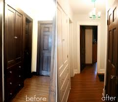 dark trim painted white with wood doors great before and after