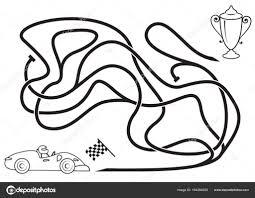 Doolhof Spel Voor Kinderen Kleurplaat Race Auto Rijden Naar Prijs