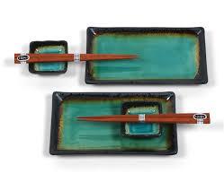 Japanese Dining Set Amazoncom Miya Kosui Sushi Set Green Sushi Plates Sushi Plates
