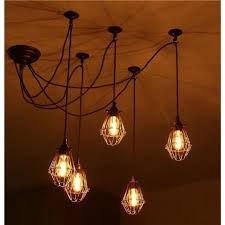 praia industrial vintage 5 light cer ceiling pendant with bronze cage shades