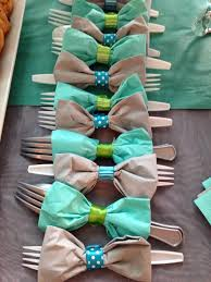 diy bow tie napkins with utensils i just think this is such a great idea for a baby boy shower or birthday party diy bow tie napkins around utensils