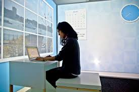Windowless Office Design Tiny 100 Square Foot Apartment Transforms Throughout Day