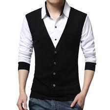Long Sleeve Designer Shirts Us 5 77 35 Off Jaycosin Men Long Sleeve T Shirts Fashion Fake Two Designer Shirts Clothing Mens Brand Fashion Spring Autumn T Shirt Men Casual In