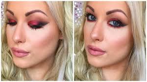 vibrant red black smokey eye makeup tutorial you