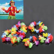 whole 4pcs hawaiian flower necklace lei headband anklet fancy dress garland beach hula