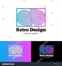 Vector modern bright abstract gradient logo. Q and B letters logotype with  stripes in retro