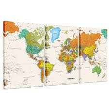 kreative arts world map canvas art premium canvas art print large colorful wall on world map wall art with photo frames with amazon kreative arts world map canvas art premium canvas