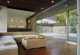 living room and kitchen with glass wall