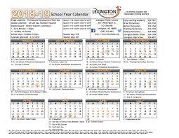 Year To Year Calendar School Year Calendar Lexington Public Schools