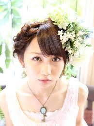 結婚式パーティー2次会で使える編みこみヘアアレンジアップヘアセット