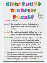 distributive property and bining like terms puzzle from under the crystal chandelier on teachersnotebook