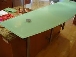 backpainted glass countertop for raised bar area