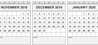 Free November December January 2020 Calendar Printable Pdf