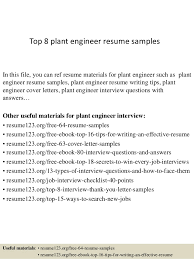 Top 40 Plant Engineer Resume Samples Mesmerizing Engineering Resume Examples
