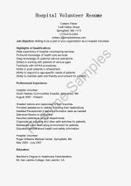 Resume Samples Hospital Volunteer Sample Job Objective