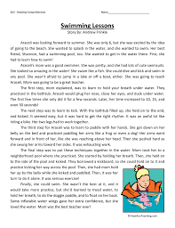 Swimming Lessons - Reading Comprehension Worksheet